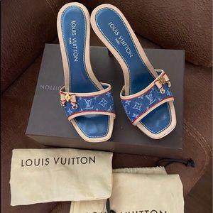 Authentic LV- denim heels, box, dust bags